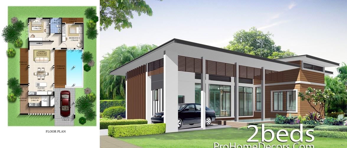 House Design Plan 10.5×16 meter with 2 Bedrooms