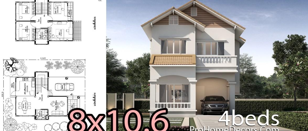 House Design Plan 8×10.6 Meters 4 Bedrooms