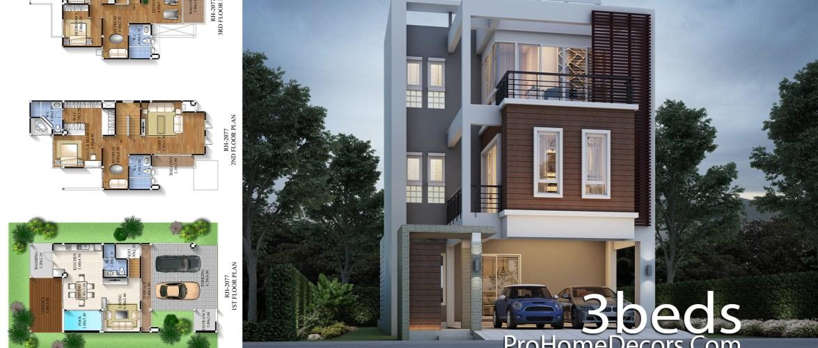 House Design Plan 8×17 meter with 3 Bedrooms