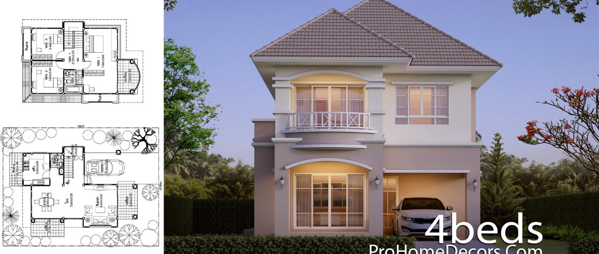 House Design Plot 12×16 Meter with 3 Bedrooms