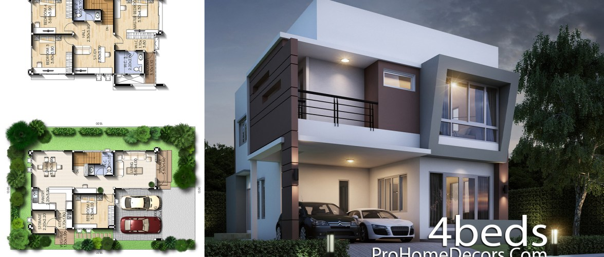 House Design Plot 12×18 Meter with 4 Bedrooms