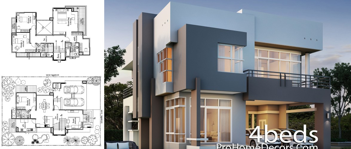 House Design Plot 14×20 Meter with 4 Bedrooms