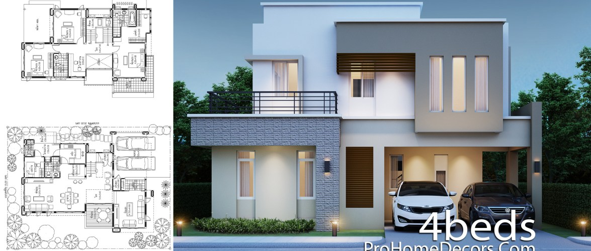House Design Plot 15×20 Meter with 4 Bedrooms