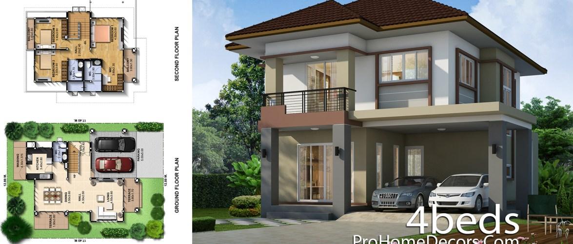 House Plans Plot 12×17 Meter 3 Bedrooms