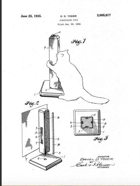 Illustratie naar het Amerikaanse octrooischrift Nr. 0000817, verkregen door Daniel D. IODER in 1935, met het beeld van de tekeningen van de kattenkras
