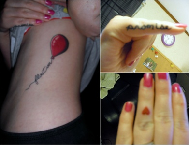 Tattoos: heart, balloon, & promise