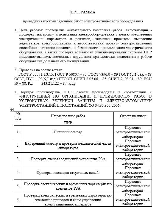 Программа ПНР оборудования ТП, РТП