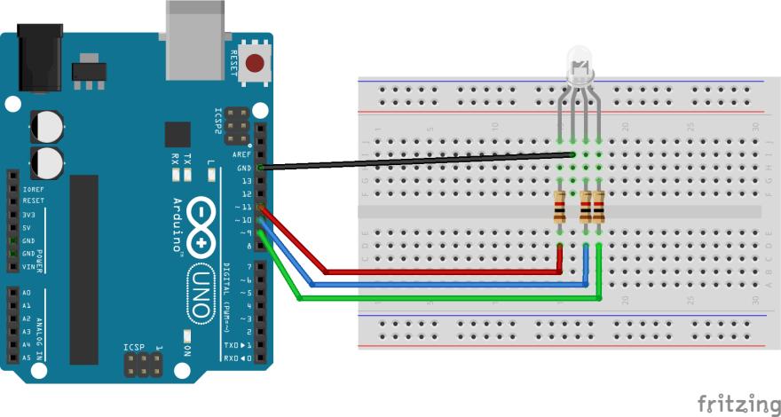 使用するLEDのピン配置をよく確認して配線してください。