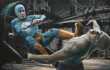 Aging Superhero Oil Painting 1