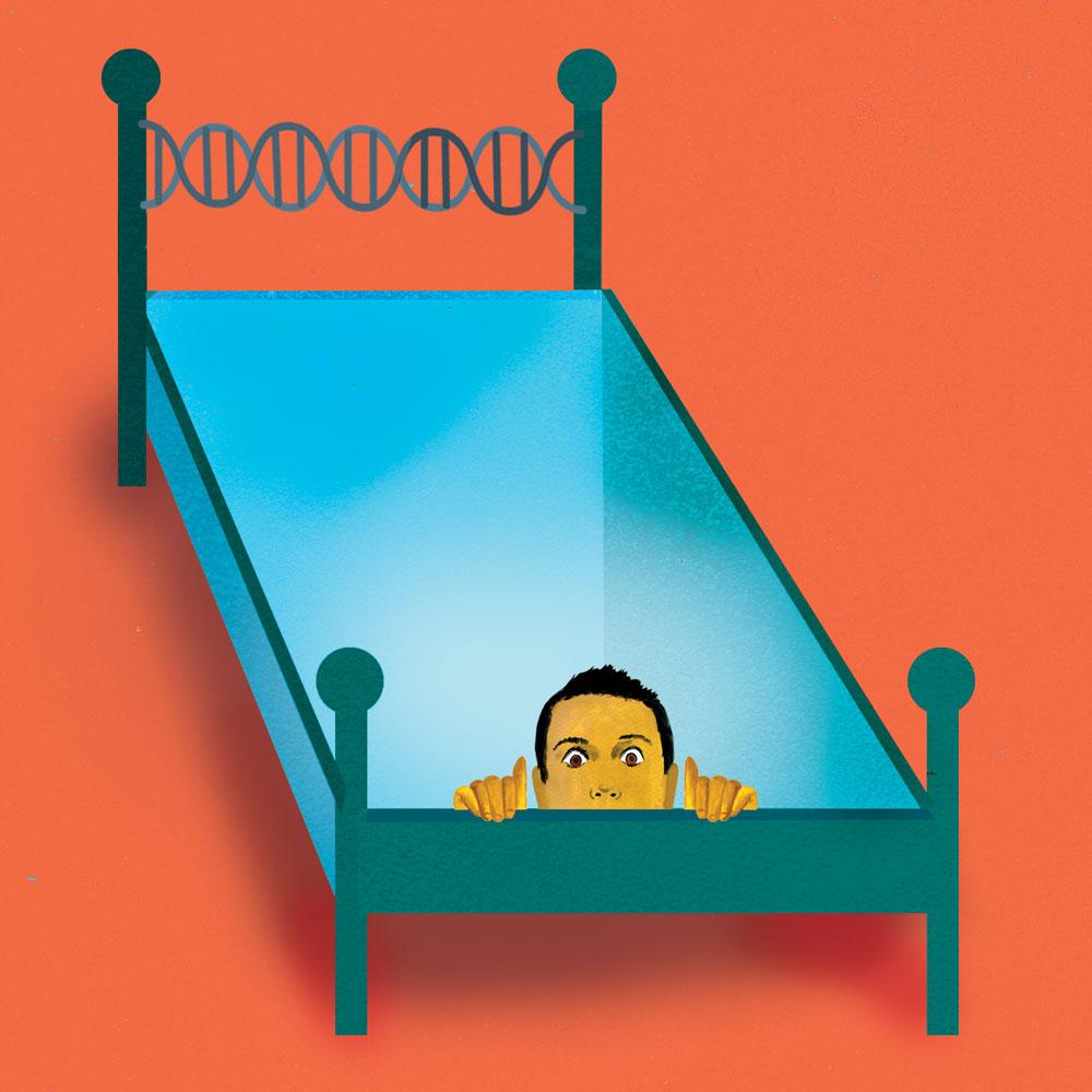 Ilustración de la cabeza de un hombre saliendo de un agujero en su cama doble.
