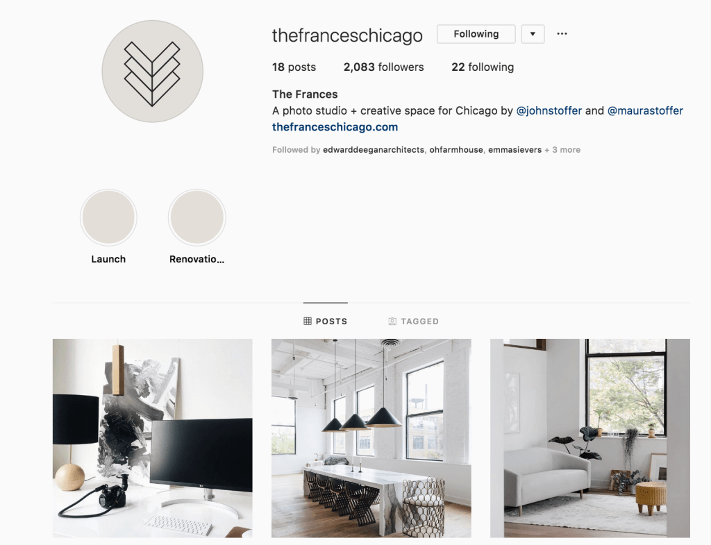 screenshot of instagram account @thefranceschicago