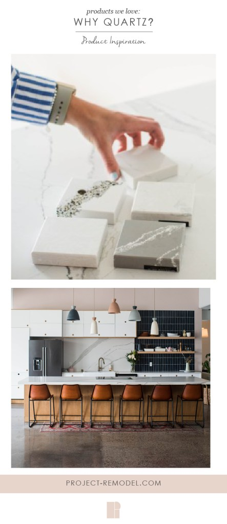 image for pinterest with hand organizing quartz samples and quartz kitchen space