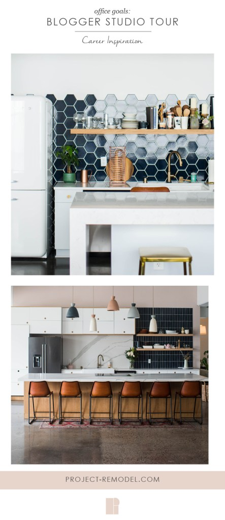 image for pinterest and that is a collage of studio kitchen photos and blogger studio tour in text overlay