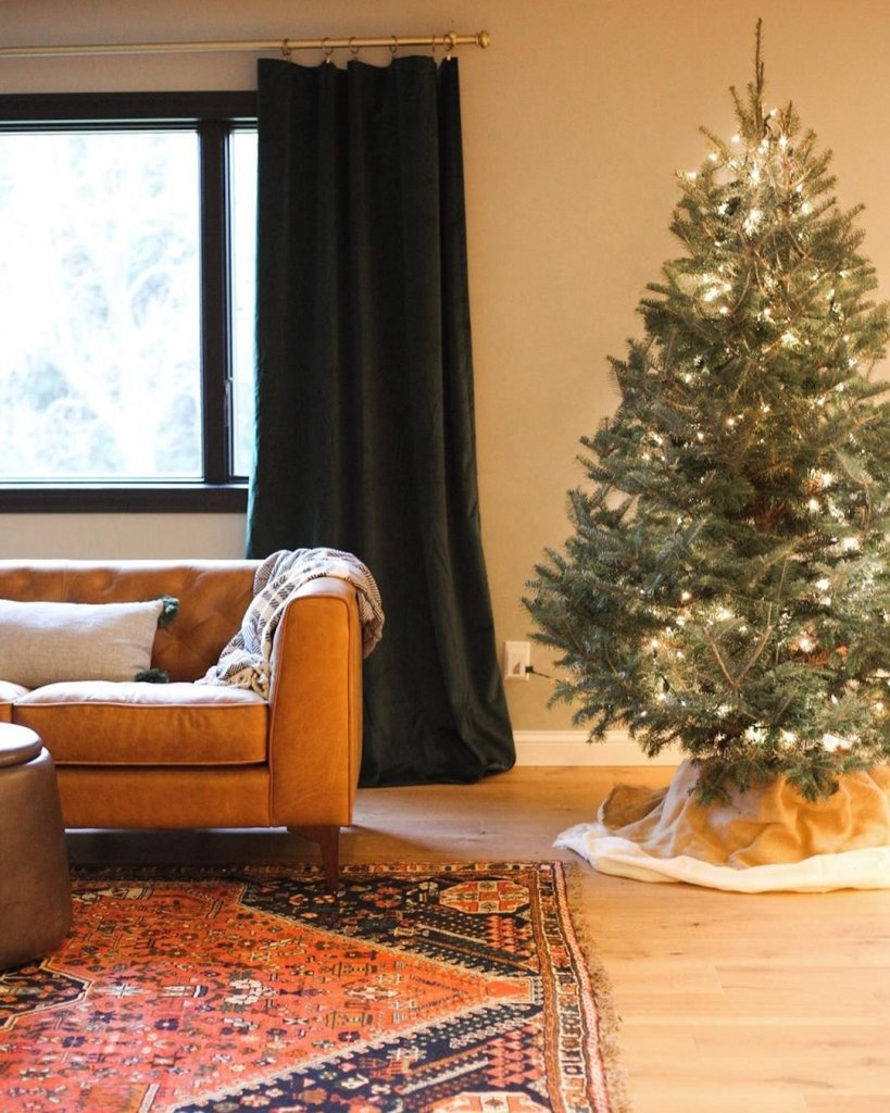 sofa and christmas tree without presents