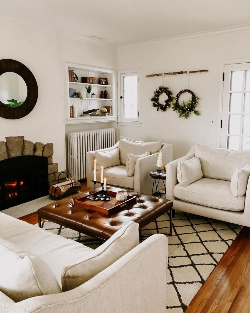 living room with 2 chairs and sofa. DIY Christmas wreaths hanging for decor