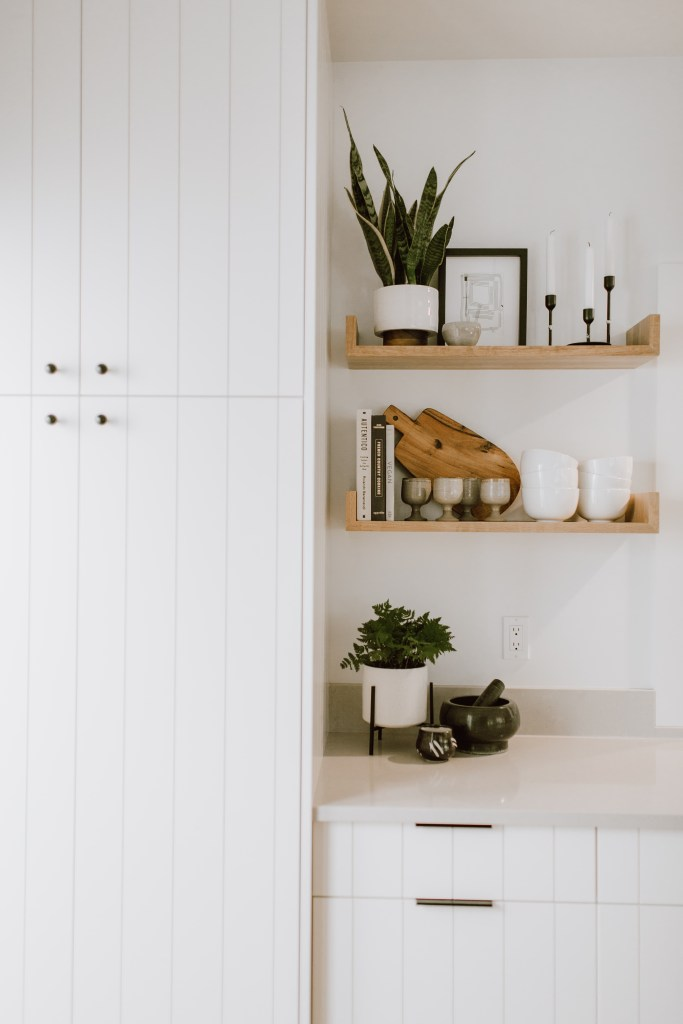 Vignette of the white paneled cabinetry and open shelving. A live plant and books decorate the area.