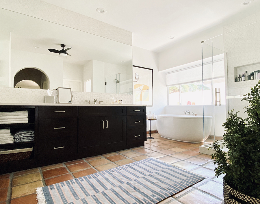 The master bath is the most recent room remodeled with black and white colors for a sophisticated look.