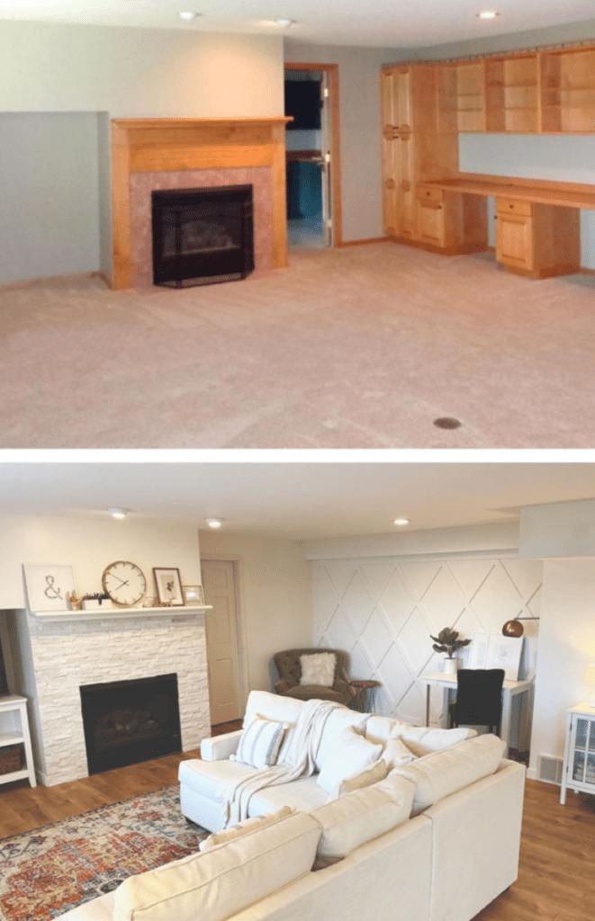A sneak peek of the basement living room remodel.
