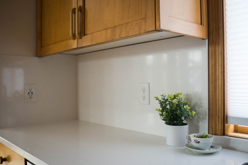 close up photo of countertop and backsplash by cambria
