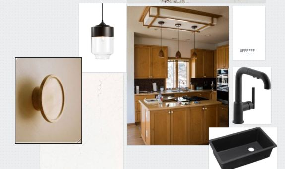 A moodboard featuring different elements of the kitchen.