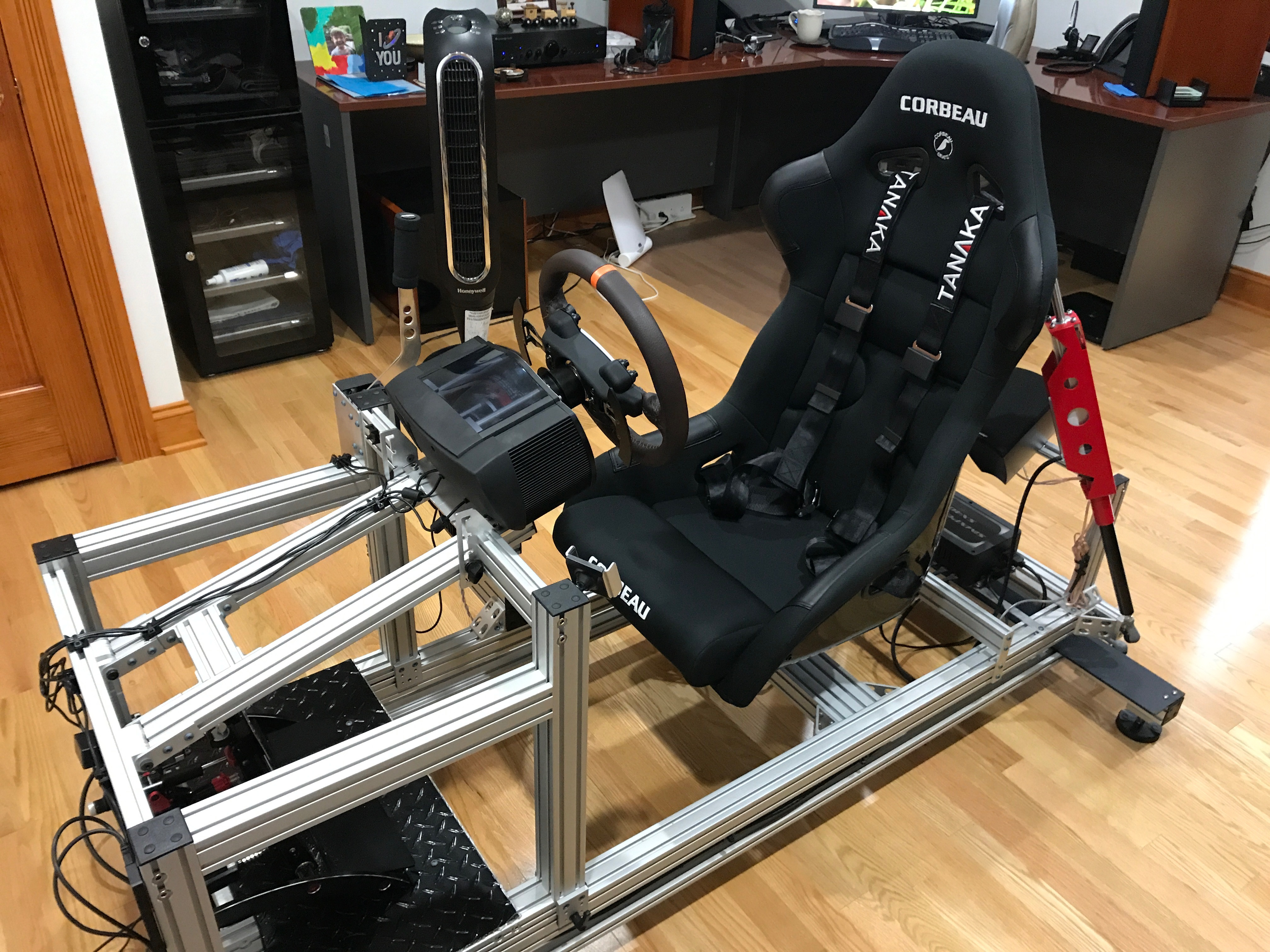 racing simulator chair plans portable lounge chairs my sim motion rig version 2 daniel chote s project blog i cnced a small bracket to mount the springs 80 20 other side of went on harness rear mounts and