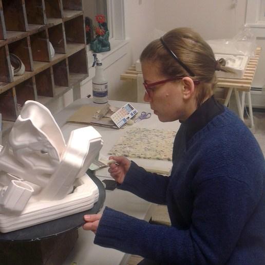 Past resident artist Elenor Wilson at work in Project Art ceramic studio.