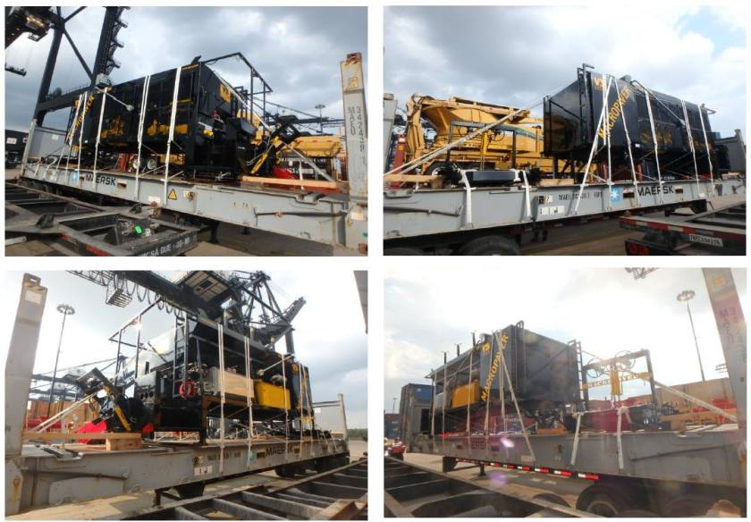 Paving Machines on Flat Racks - AEL