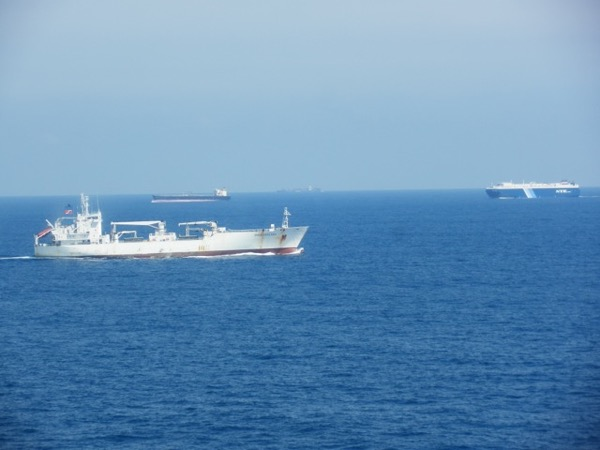 Almost a traffic jam, south of Sri Lanka in the Indian Ocean