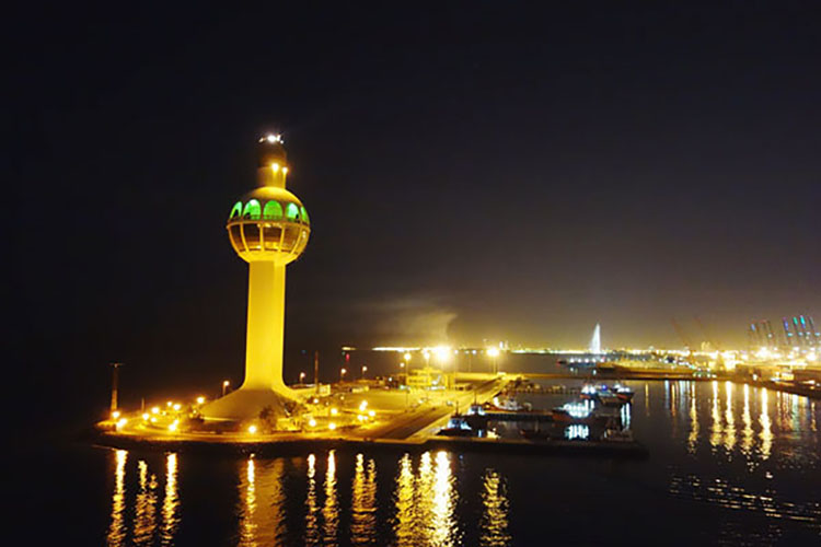 Departure from port of Jeddah at night.