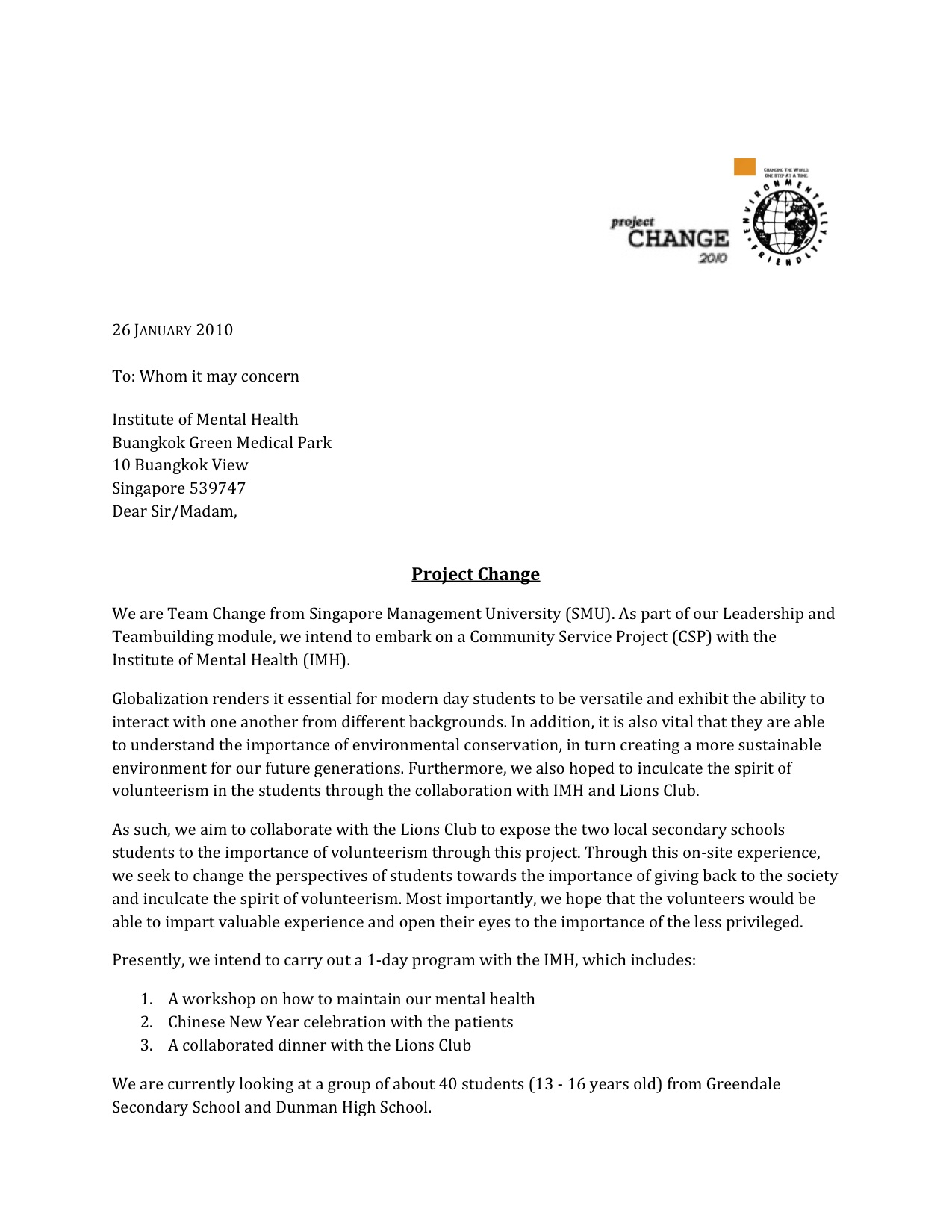 Letter Of Intent To Lions Club Project Change's Portfolio