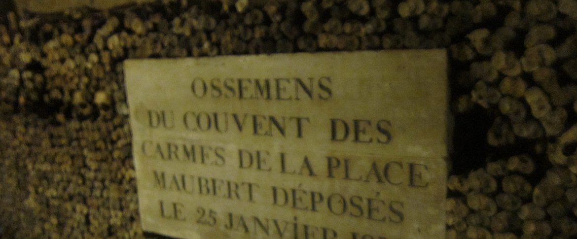 Paris catacombs, Paris Underground, grave marker, skulls, project dreamscape
