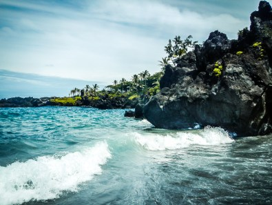 A cove at a black beach on the Road to Hana in Maui, Hawaii Not So SAHM