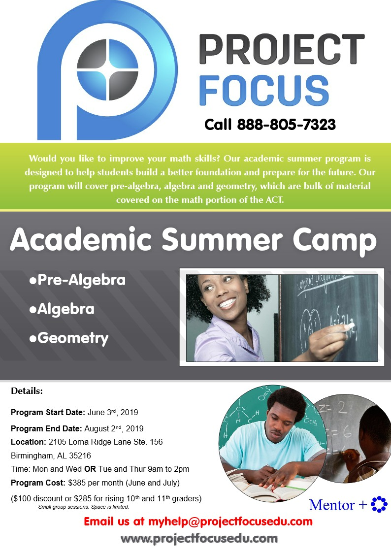Flyer for brochure Summer Math Camp 2019
