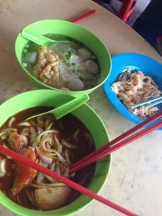 fishball soup, noodles Tom Yum soup