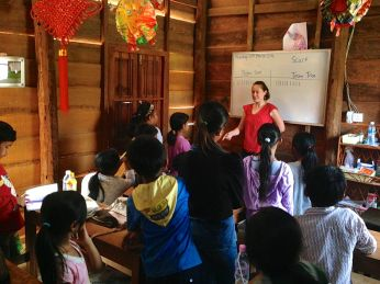 First day teaching at a Cambodian school