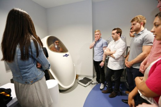 """_2018475London Wasps being tested in the """"Bod Pod"""" for body fat percentage (GSK Human Performance Lab, Maxi Nutrition)"""