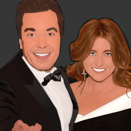 A vector image of Jimmy Fallon and his wif.