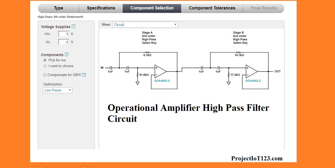 Lm741 Active High Pass Filter Circuit Electronic Circuits