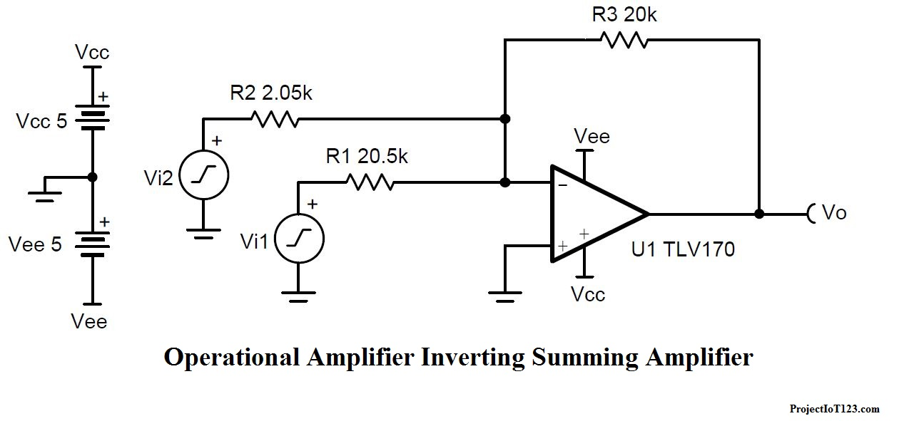 Summing Amplifier Circuit Diagram | Operational Amplifier As The Summing Amplifier Projectiot123