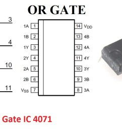 input or gate ic which means that this ic contains 4 independent two input or gates the pinout and connection diagram of the 4071 ic is shown below  [ 1274 x 654 Pixel ]