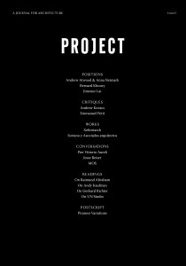 PROJECT Issue 1 Cover