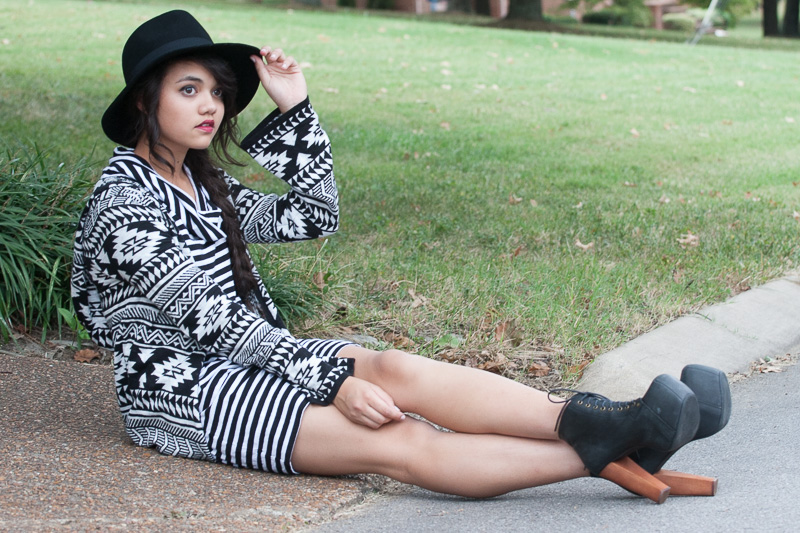 Striped Express Dress-$12, Poshmark. Tribal Tunic-$25, F21. Wide Brimmed Fedora-$16, F21. Jeffrey Campbell Litas-$90, Poshmark.