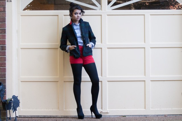 Blazer-$25, Merona. Shirt-$?, Unknown. Shorts-$10, Forever 21. Tights-$4, Target. Shoes-$5, Poshmark (Orig. Target)