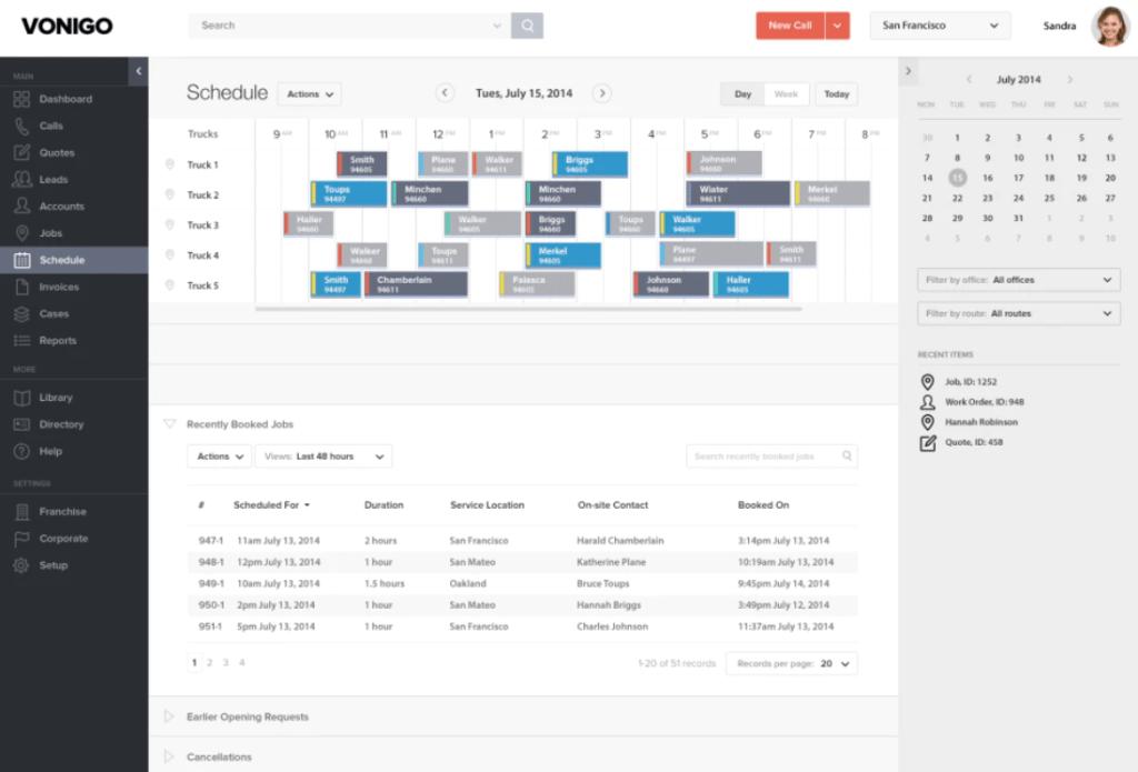 Screenshot of Vonigo HVAC Software