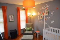 Nursery - using gray + orange as a fresher version of gray ...