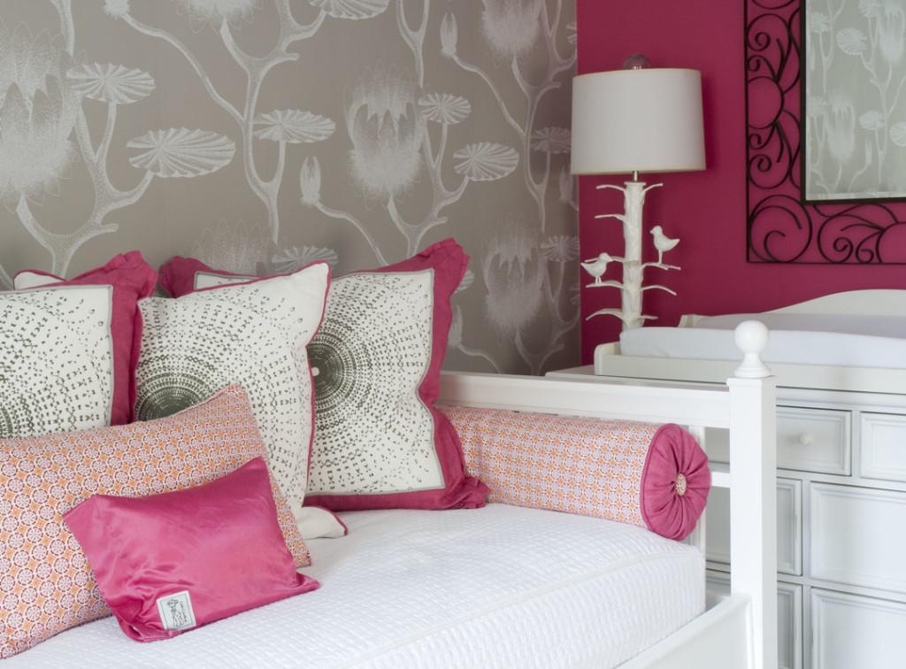 Girls Pink Bedroom Wallpaper Chic Raspberry And Gray Nursery Project Nursery