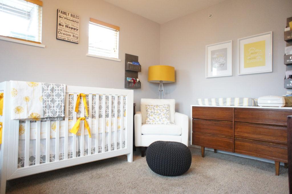 Gender Neutral Nursery , Grey, White & Mustard Project