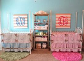 Coral & Teal Boy & Girl Twin Nursery   Project Nursery