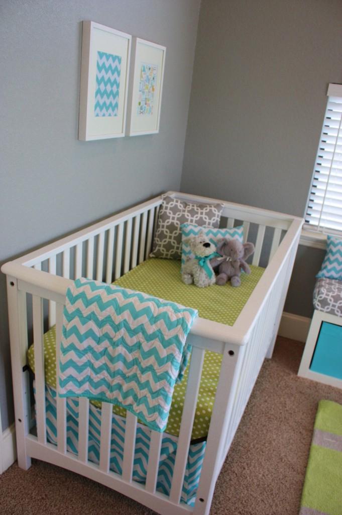 Aqua, Gray, & Green Baby Boy Nursery