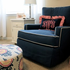 Blue Nursery Chair Oversized Swivel Chairs For Living Room Sawyer 39s Sweet Navy And Pink Project